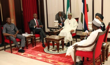 President Buhari and the panelists during his maiden media chat