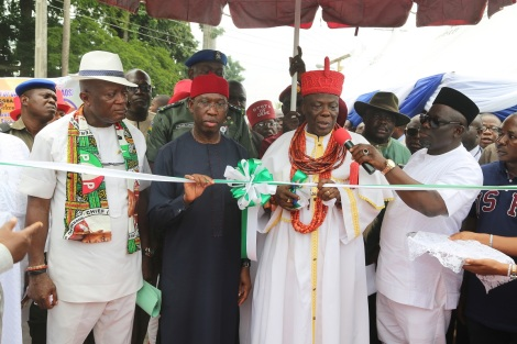 Delta State Governor, Senator Ifeanyi Okowa (2nd left);  Orhue 1, the Orodje of Okpe (2nd right); member representing  Okpe constituency of the State House of Assembly, Hon Sheriff Oborieowori (right) and the Chairman, Okpe LGA, Hon Godwin Ejinyere (left) during commissioning of Ejinyere/Orodje Road in Orerokpe, head Quarters of Okpe LGA, to mark the Governor's one anniverssary